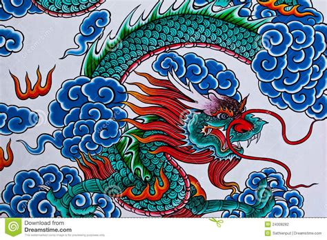 chinese dragon painting chinese temple thailand stock