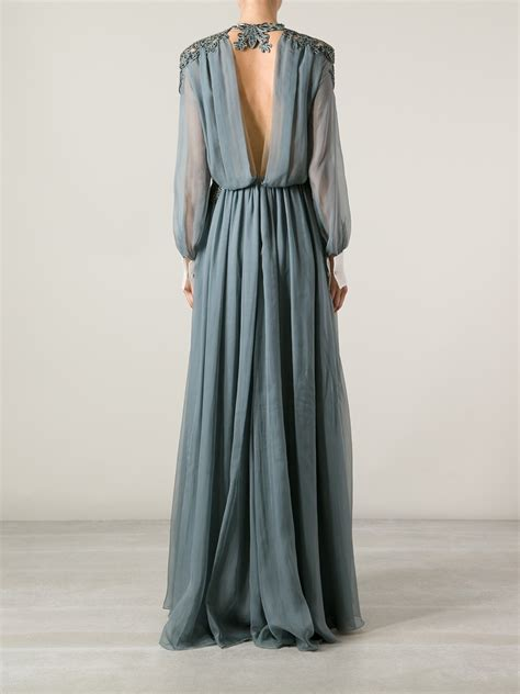 Valentino Maxy lyst valentino embellished maxi dress in gray