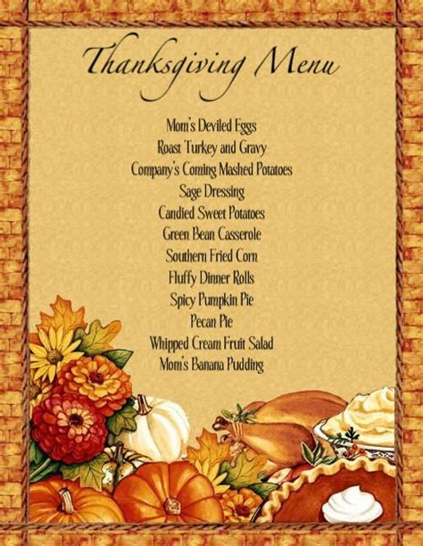 thanksgiving dinner menu template thanksgiving dinner
