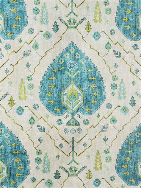 aubusson upholstery fabric aubusson aegean blue turquoise green print fabrics