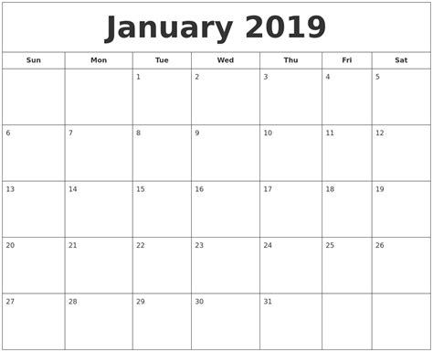 printable calendar for 2019 january 2019 printable calendar