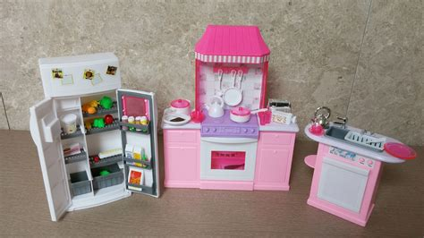 mini doll house furniture unboxing barbie kitchen set by gloria barbie size