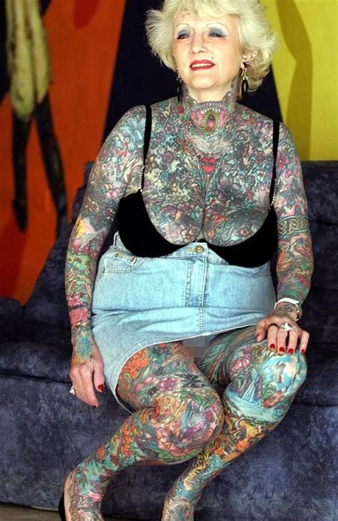 old lady with tattoos briton isobel varley 69 the world s eldest tattooed