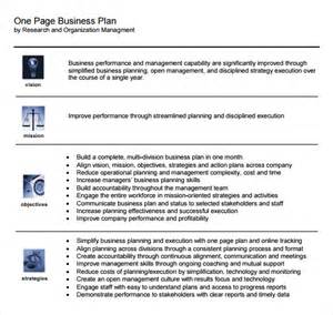 one page business plan template pdf one page business plan sle 9 documents in pdf
