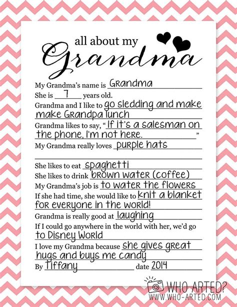 Mother S Day Questionnaire Grandma Who Arted 02 Holiday