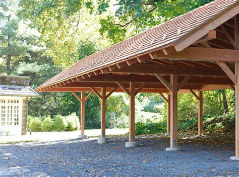 Detached Garage Plans With Apartment timber frame carport in wynncote pa traditional