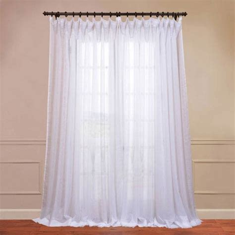 96 inch white curtains signature double layered white 50 x 96 inch sheer curtain