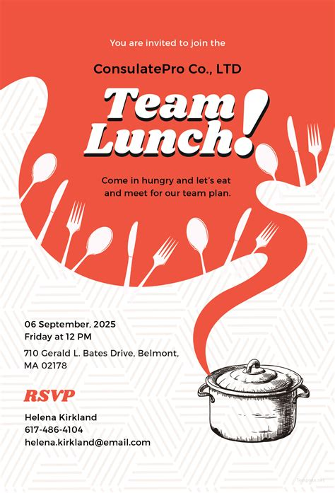 Lunch Card Template by Free Team Lunch Invitation Template In Adobe Illustrator