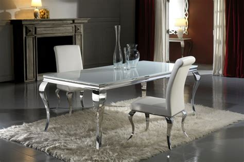 modern louis white glass dining table and chair set
