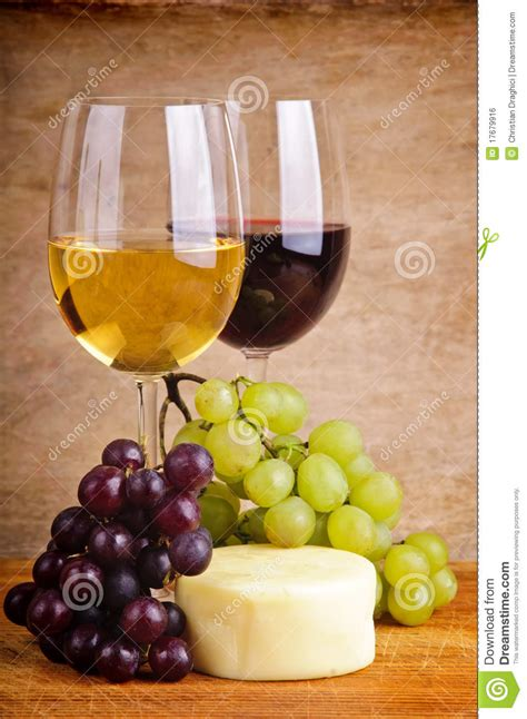 life  grapes cheese  wine stock photo