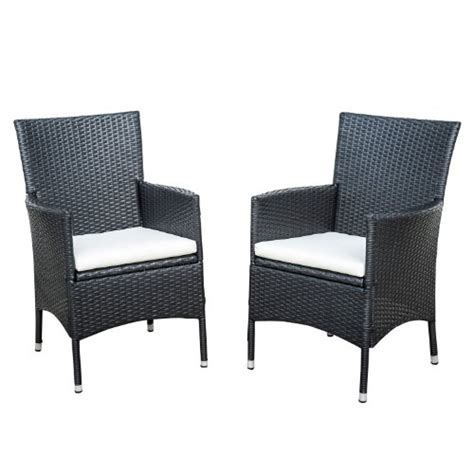 black wicker dining chairs outsunny rattan wicker outdoor dining arm chairs black 2