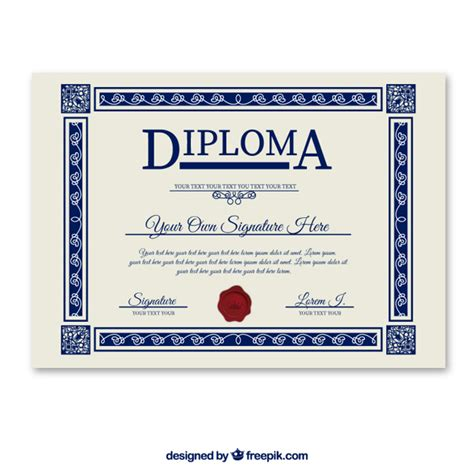 diploma template vector free download