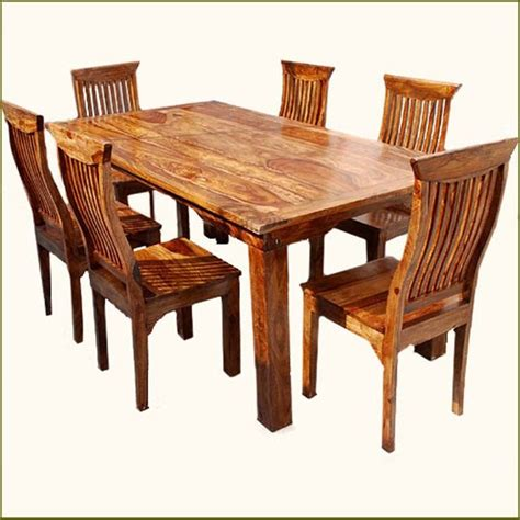 Rustic 7 Pc Solid Wood Dining Table Chair Set Rustic Real Wood Dining Room Furniture