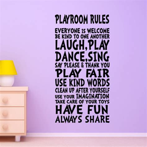 kids bedroom rules kids wall decal playroom rules decor art sign for by