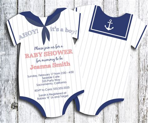 Sailor Baby Shower by Sailor Baby Shower Invitation Nautical Themed Shower