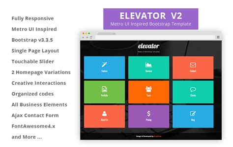 free bootstrap html5 templates elevator metro ui free bootstrap template graygrids