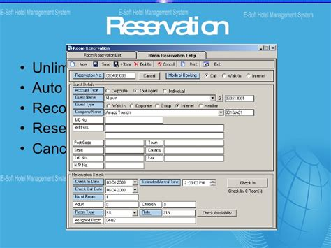 hotel reservation system template hotel management system