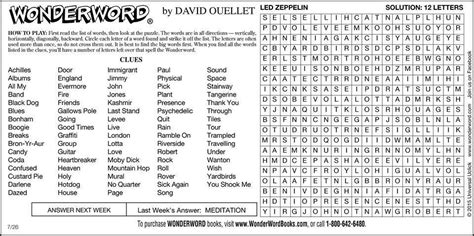 printable wonderword puzzle wonderword on twitter quot led zeppelin puzzle sunday