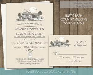 Barn Invitation Template by Printable Rustic Wedding Invitation Set Barn By Notedoccasions