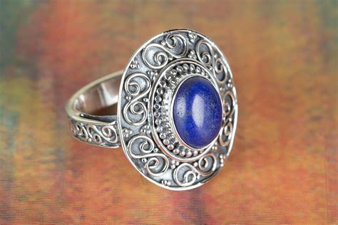 Handmade Silver Rings With Gemstones - handmade lapis lazuli gemstone 925 silver ring all size