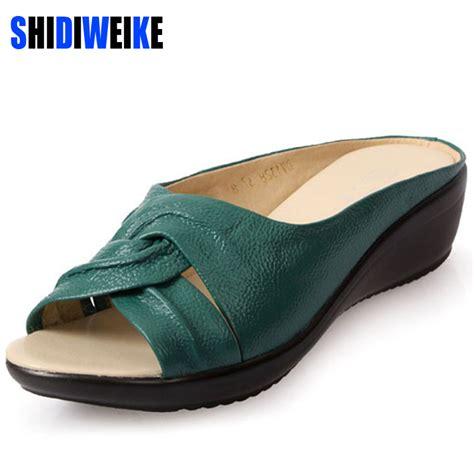Wedges Slip On Korea 1 2017 summer slippers wedges sandals shoes leisure slippers slip on toe genuine