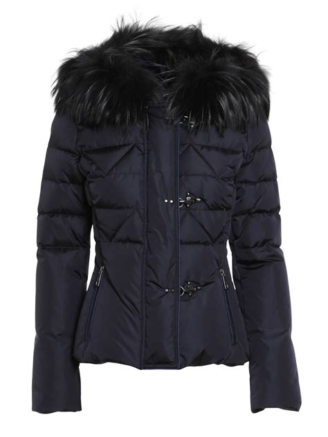 Tas Branded Sergio Navy Blue Made In Italy Second Bekas Original jacket with fur by fay padded jackets