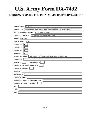 fillable online us army form da 7432 sergeants major course administrative data sheet fax email