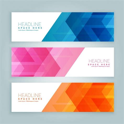 banner design resolution pack of colored banners with abstract design vector free