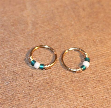 beaded nose ring small cartilage earrings teal white beaded nose ring
