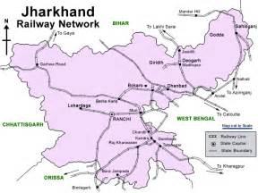 Jharkhand by Rail Map India Jharkhand Railways Map
