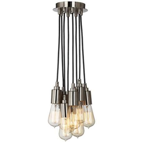 Multi Bulb Pendant Light Europa 1910 Edison Bulb Brushed Nickel Multi Light Pendant