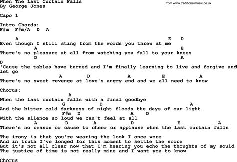 drapery falls lyrics when the last curtain falls by george jones counrty song