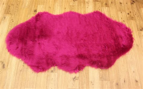 Faux Fur Pink Rug by New Soft Fluffy Plain Washable Fuschia Pink Colour