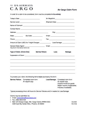 fillable air cargo claim form us airways fax email print pdffiller
