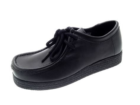 school black shoes black leather school shoes womens lace up work