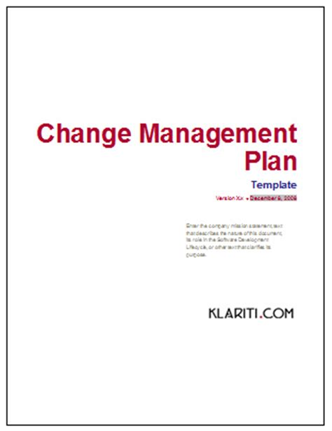 Change Management Plan Template Ms Word Excel Forms Logs Checklists Change Management Template Word