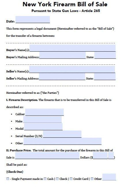 Free New York Firearm Bill Of Sale Form Pdf Word Doc Bill Of Sale Template Ny