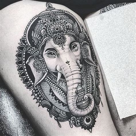 indian elephant tattoos symbolism and design ideas art
