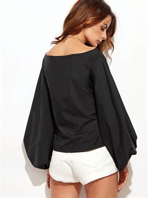 boat neck boat neck lantern sleeve bowknot blouse shein sheinside