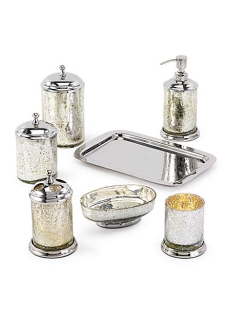 Crackle Glass Bathroom Accessories Avanti Mercury Crackle Glass Silver Bathroom Accessory Collection Belk
