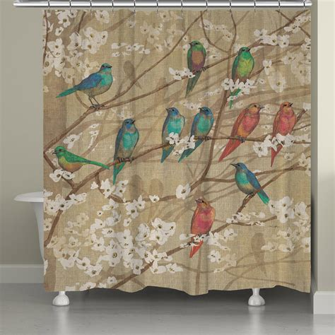 bird shower curtains birds and blossoms shower curtain from laural home s h o