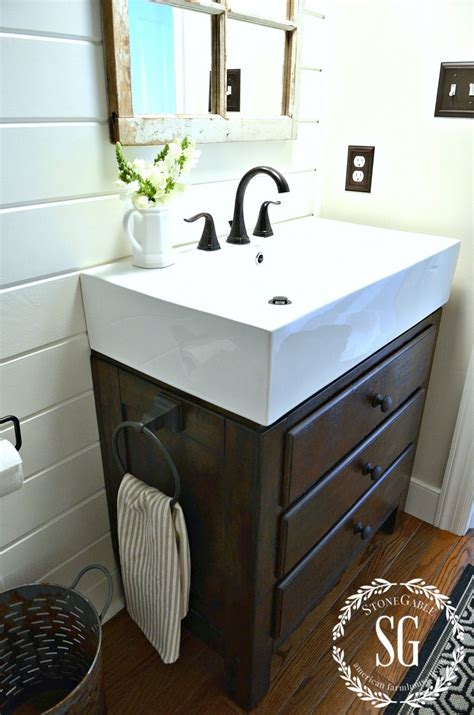 farmhouse sink bathroom farmhouse powder room reveal stonegable