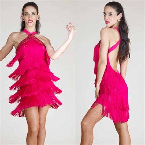 Salsa Dress Pink virginiana fringe ballroom salsa dress special