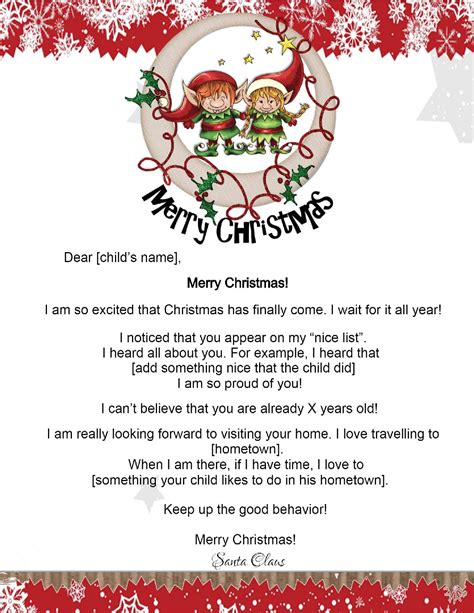 Free Letters From Santa Letter From Santa Template Free