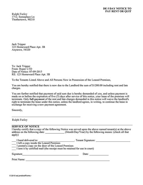 Delaware 5 Day Notice To Pay Rent Or Quit Ez Landlord Forms Pay Or Quit Notice Virginia Template