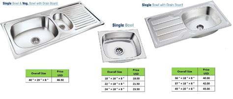 Kitchen Sink Drain Size Stainless Steel Ss Kitchen Sink In Single Bowl With Drain Board Buy From Kavar Steel Industries