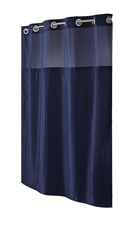 navy fabric shower curtain hookless fabric shower curtain with built in liner navy blue