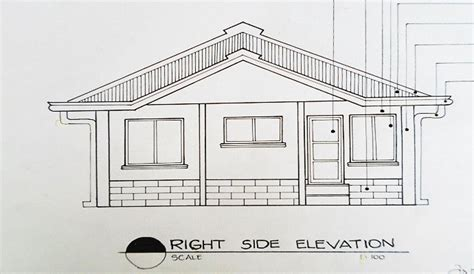 bungalow house sketch design exle right side elevation of a house in architectural drawing