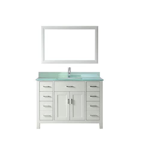 Glass Vanity Tops Studio Bathe Kalize 48 In Vanity In White With Glass Vanity Top In Mint And Mirror Kalize 48