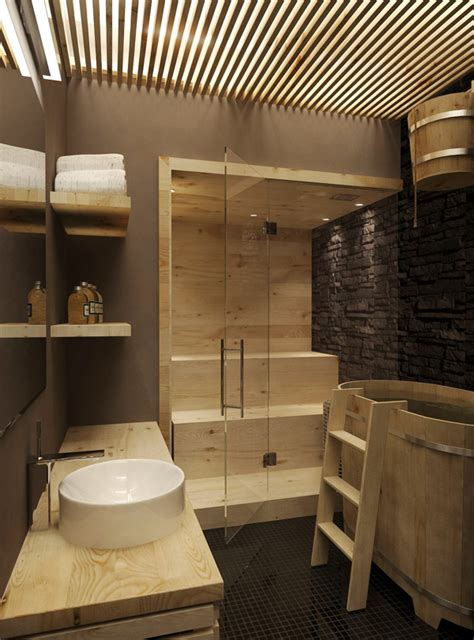 sauna bathroom modern feature rich house in moscow